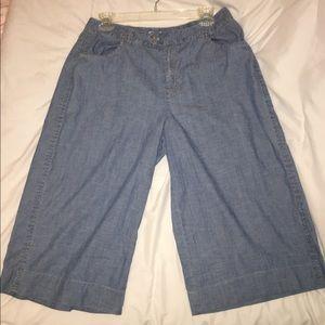 Nic and Zoe Womens Capri wide leg denim pants